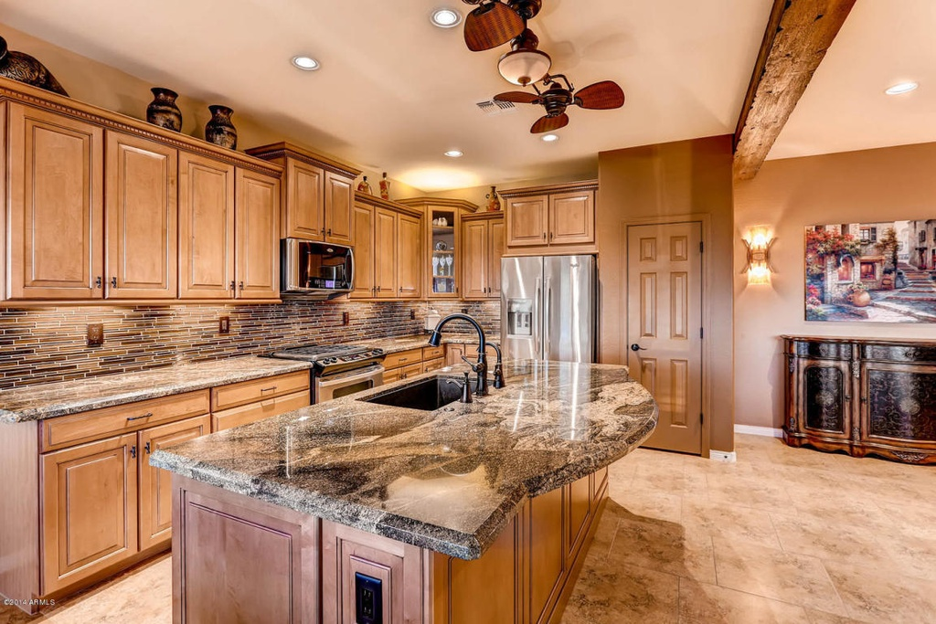 Lava Granite Countertops Maple Cabinets