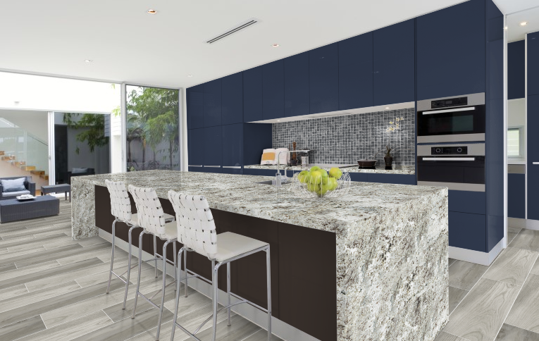This Kitchen Features Arizona Tile Alaska Granite Countertops On Both The  Wall And The Countertops. The Cabinets On The Wall Are A Midnight Blue And  The ...