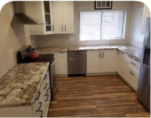 White Shaker Style Kitchen Cabinets & Granite Countertops