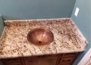 Granite Bathroom Countertops & Chocolate Shaker Cabinets